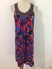 Victoria's Secret Bra Tops Sleeveless Dress Multi-Color w/Beaded Collar Size M