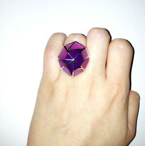 Stephen Webster Silver 925 Shattered Ring with Pink and Purple Inlay Size 6