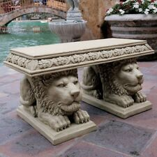 Lions Small Garden Bench Statue Sculpture Vintage Stone Finish ~ 300 lb Capacity