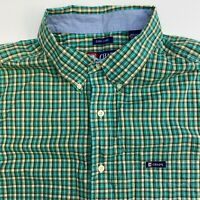 Chaps Button Up Shirt Mens XXL Green Plaid Easy Care Short Sleeve Casual