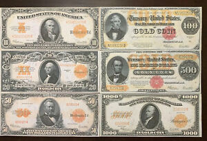 Reproduction Set 1922 Gold Certificates $10-$1000 USA Currency Copies Set of 6