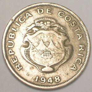 1948 Costa Rica Rican 50 Centimos Ship in Arms Coin F+