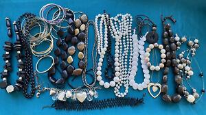 Job Lot Costume Jewellery Bundle Necklaces Bracelets Bangles White Black Tones