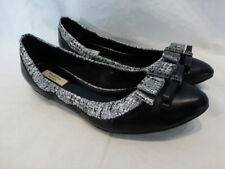 Vera Wang Black White Loafers Ballet Flats Comfort Bow Pointy Womens Shoes 9M