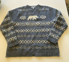 Old Navy 100% Lambs Wool Mens Sz L Polar Bear Snowflake Blue Knit Sweater Crew