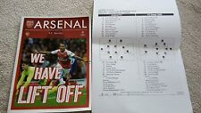 ARSENALV FC BASEL PROGRAMME AND TEAM SHEET 28TH SEPT 2016
