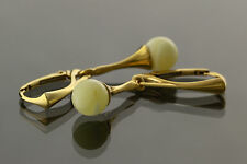 White Round Beads Genuine BALTIC AMBER Silver Gold Plated Earrings 3.1g e61103-4