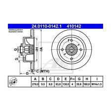 2 St. ATE 24.0110-0142.1 Bremsscheibe   für VW Kaefer Kaefer Cabriolet