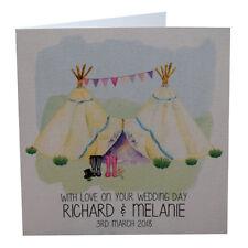 Personalised Wedding Day Card Handmade Tepee Wedding Wellingtons Rustic Wedding