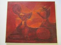 MARIO CANO PAINTING VINTAGE CAT KITTEN RETRO CUBIST CUBISM ABSTRACT MODERNISM