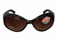 Foster Grant FG11 Women's Oval Wrap Style Sunglasses Black & Brown Frame CAT 3