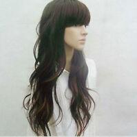HELLOJF1343 new curly long dark brown health wavy hair wigs women wig