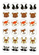 24 FOREST ANIMAL FACES WAFER RICE PAPER EDIBLE FAIRY/CUPCAKE TOPPERS
