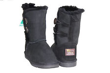 Genuine Sheepskin UGG boots 2 Buttons Woman Size 8 Colour Black Australia Made