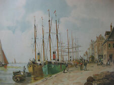 Chromolithographie vers 1900 1920 paysage marin Bateaux au port Marine