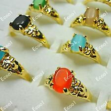 6pcs cat-eye opal gold plated rings wholesale Fashion mixed lots  free shipping
