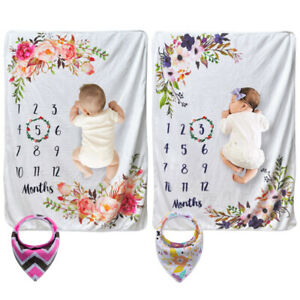 Monthly Milestone Blanket Infant Baby Gift Swaddle Wraps Photography Prop Shoot