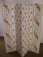 Very lovely four panel genuine Vintage fabric room divider with solid wood frame