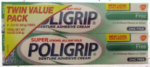 Super Poligrip Denture Adhesive Cream - Green - 2 PK false teeth tooth partial
