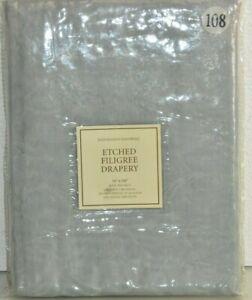 $119 NEW RH Restoration Hardware Etched Filigree Drapery Grey Rod Pocket 50 x108