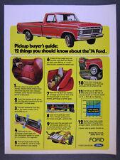 1974 Ford F100 Ranger XLT Pickup red truck photo vintage print Ad