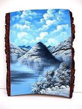 Wooden Wall Hanging handmade home decoration, image of a lake in the hills