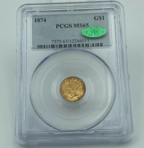 1874 PCGS & CAC MS65 Gold Dollar $1