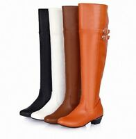 New Ladies Stylish Shoes Zip Buckle Cuban Heel Pumps Casual Punk Knee-high Boots