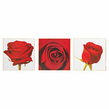 Set of 3 Wooden Canvases Split Picture Wall Art Sea & Flowers Home Decor Print Red Roses