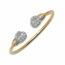9CT GOLD  CHILDS/BABY CZ BOXING GLOVE TORQUE BANGLE  - UK JEWELLERS