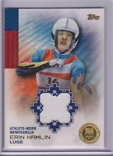 RARE 2014 TOPPS OLYMPIC ERIN HAMLIN GOLD RELIC CARD ~ /25 LUGE ~ FLAG BEARER
