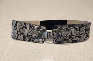 Cue Leather Snake Print Wide Double Buckle Belt Elastic Insert Size M - L