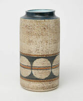 A Troika Cornish Art Pottery Cylinder & Textured Vase - 1970's Ann Lewis