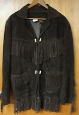 Spectacular J R Palacios Brown Suede Leather Fringed Coat Jacket, Size M/L