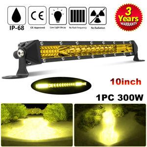 "10""inch Slim LED Light Bar Single Row Spot Flood Yellow Driving Offroad ATV 4WD"