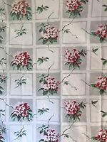 Vintage Floral Tablecloth 50 x 54 Garden Flowers Shabby Prim