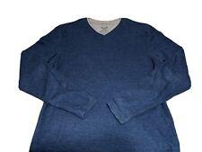 Faded Glory Men's Sz S Small Long Sleeve Shirt Sweater Navy Blue / Gray V Neck
