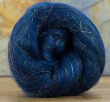 4 Ounces Merino Wool/Nylon Combed Top/Roving - Sapphire Sparkle ** FREE SHIPPING