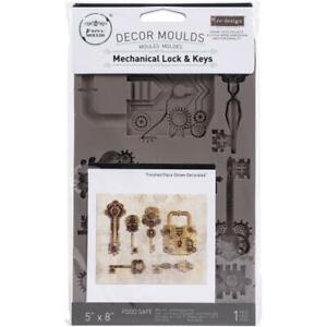 "Prima MECHANICAL LOCK & KEYS Re-design Decor Silicone Moulds 5x8"" #652159"