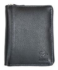 Men's black zip-around good quality genuine leather wallet. Worldwide Delivery.