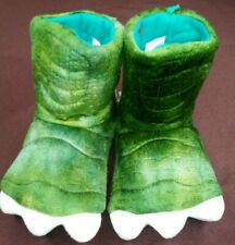 NEW Toddler Boys Kids Dark Green Dino Monster Claw Slippers Boots House Shoes