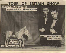 "advertising card for "" savoy marionettes "" tour of britain show !"