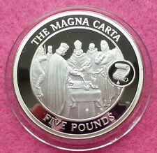 2008 GIBRALTAR THE MAGNA CARTA  FIVE POUND SILVER PROOF COIN