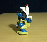 Smurfs Indian Smurfette & Baby Smurf 20555 Rare Vintage Figure PVC Toy Figurine
