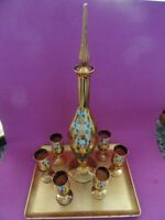 VINTAGE 50's HAND PAINTED MURANO AMETHYST PLUM RED GLASSES DECANTER SET ITALY
