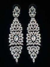 EARRING using Swarovski Crystal Dangle Drop Wedding Bridal Silver Pearl SW30
