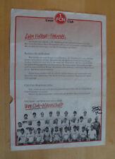 Flyer 1.FC Nürnberg mit Autogrammen Mannschaft Saison 1986/1987 - Club