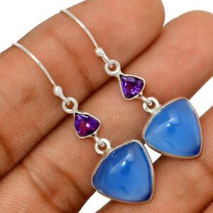 Blue Chalcedony & Amethyst 925 Sterling Silver Earring Jewelry BE57754
