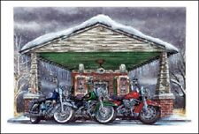 HARLEY DAVIDSON CHRISTMAS CARDS #X743 HARLEYS SITTING IN FRONT OF GAS PUMPS (10)