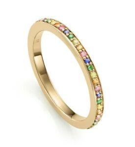 BARGAIN-CURRENT STOCK! Monica Vinader coloured sapphire gold vermeil ring Size M